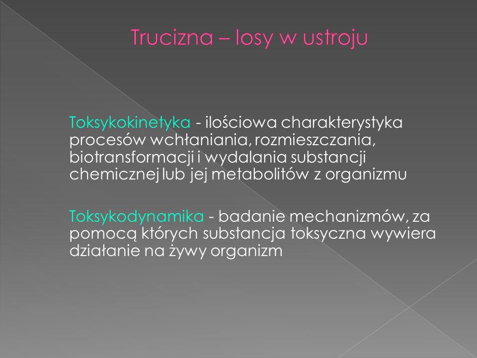 Toksykokinetyka - ilościowa charakterystyka procesów wchłaniania, rozmieszczania, biotransformacji i wydalania substancji chemicznej lub jej metabolit