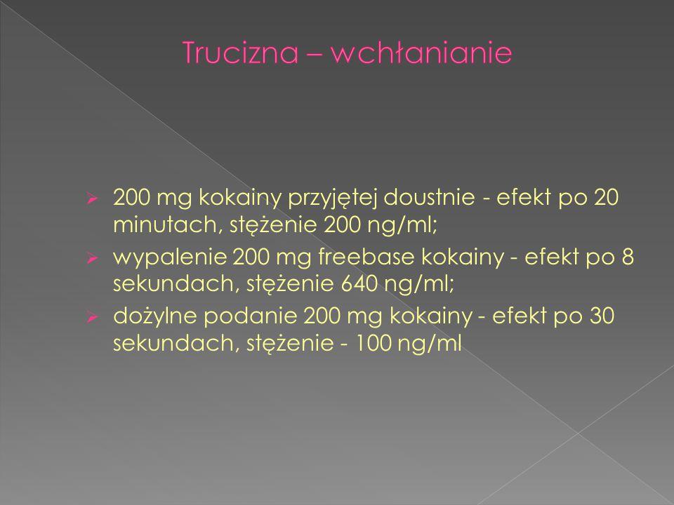  200 mg kokainy przyjętej doustnie - efekt po 20 minutach, stężenie 200 ng/ml;  wypalenie 200 mg freebase kokainy - efekt po 8 sekundach, stężenie 6