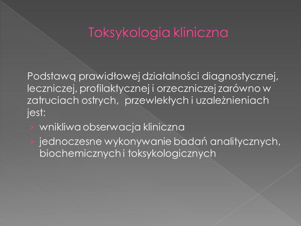Podstawą prawidłowej działalności diagnostycznej, leczniczej, profilaktycznej i orzeczniczej zarówno w zatruciach ostrych, przewlekłych i uzależnienia