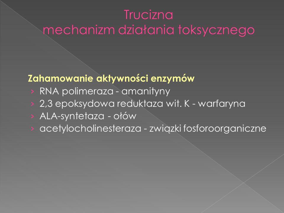 Zahamowanie aktywności enzymów › RNA polimeraza - amanityny › 2,3 epoksydowa reduktaza wit. K - warfaryna › ALA-syntetaza - ołów › acetylocholinestera