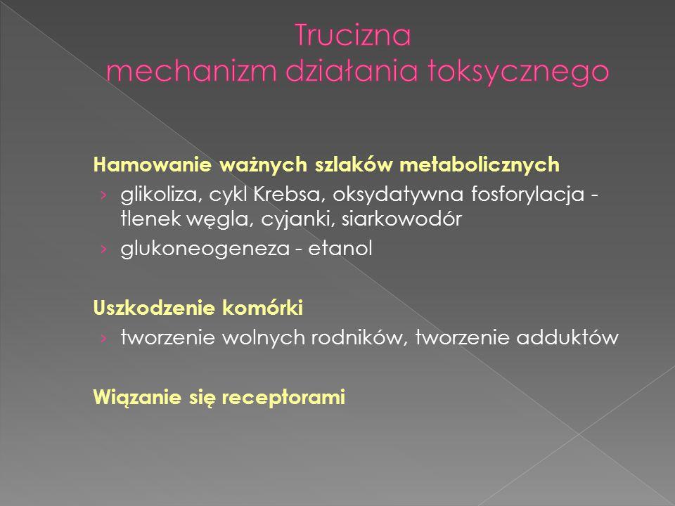Hamowanie ważnych szlaków metabolicznych › glikoliza, cykl Krebsa, oksydatywna fosforylacja - tlenek węgla, cyjanki, siarkowodór › glukoneogeneza - et
