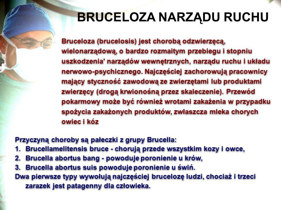 BRUCELOZA NARZĄDU RUCHU Bruceloza (brucelosis) jest chorobą odzwierzęcą, wielonarządową, o bardzo rozmaitym przebiegu i stopniu uszkodzenia' narządów