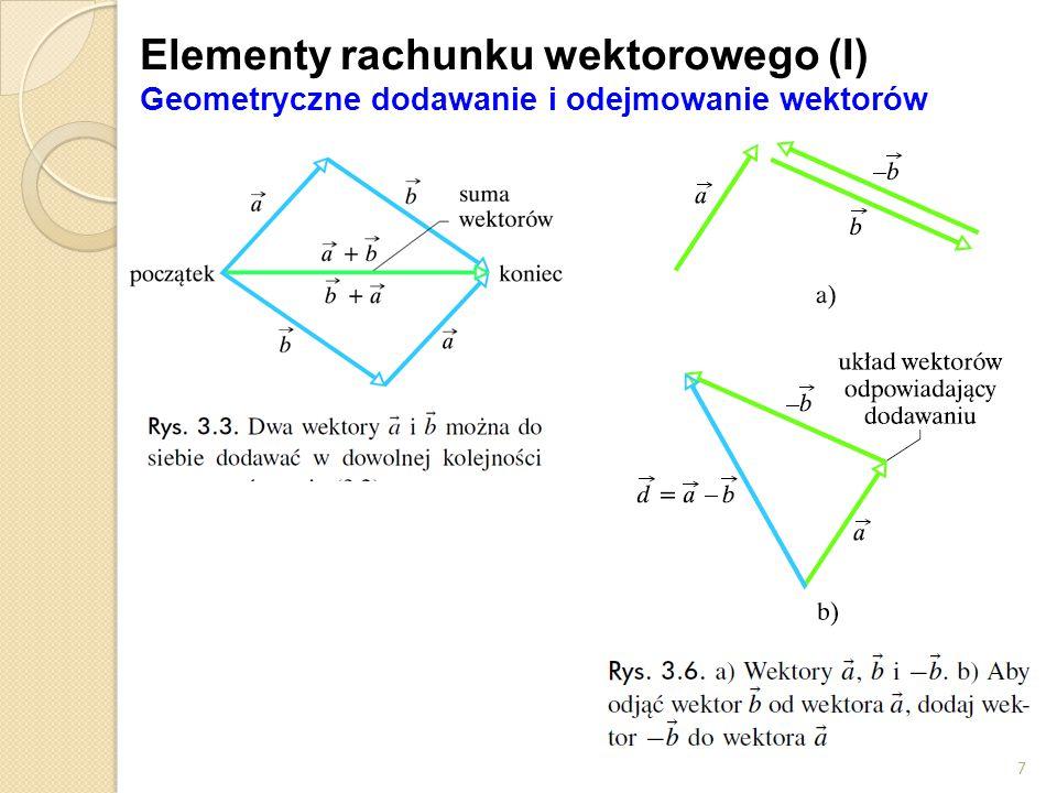 Elementy rachunku wektorowego (I) Geometryczne dodawanie i odejmowanie wektorów 7