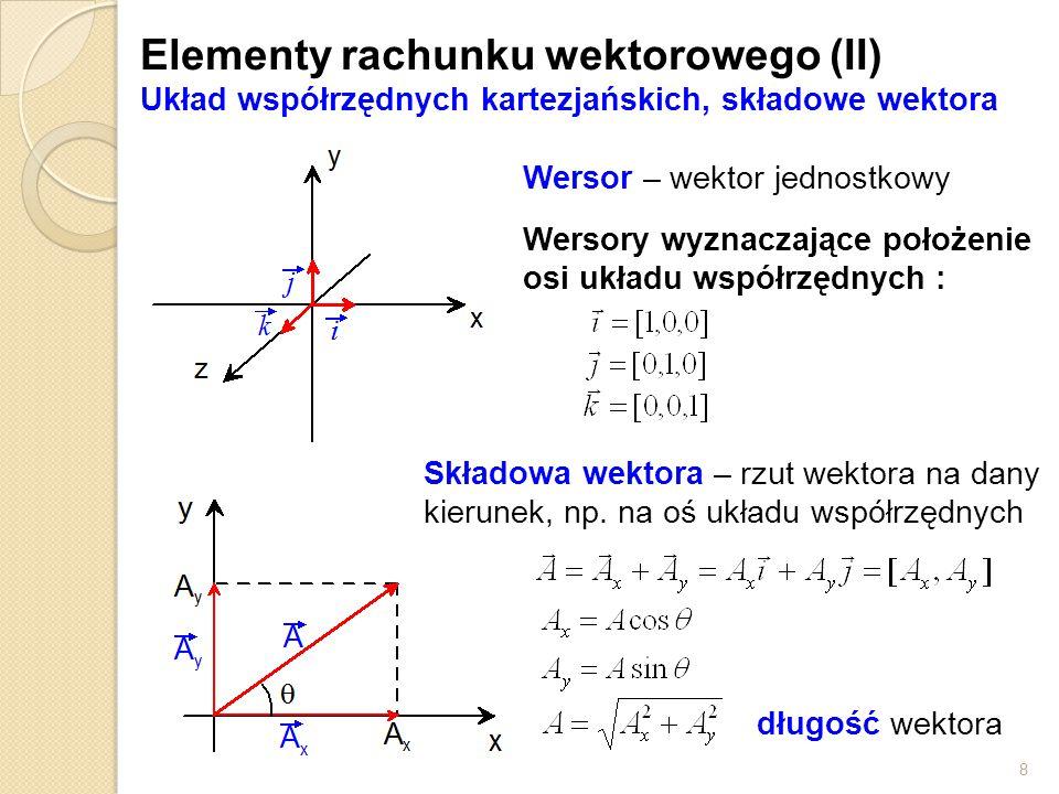 8 Elementy rachunku wektorowego (II) Układ współrzędnych kartezjańskich, składowe wektora Wersor – wektor jednostkowy Wersory wyznaczające położenie osi układu współrzędnych : Składowa wektora – rzut wektora na dany kierunek, np.