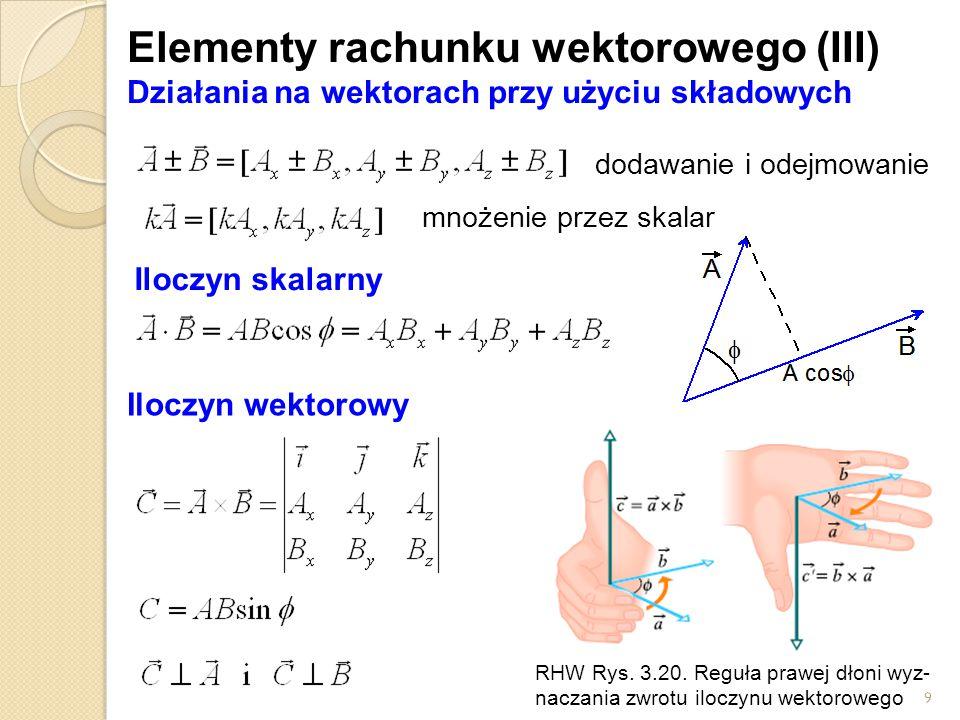 9 Elementy rachunku wektorowego (III) Działania na wektorach przy użyciu składowych dodawanie i odejmowanie Iloczyn skalarny Iloczyn wektorowy mnożenie przez skalar RHW Rys.