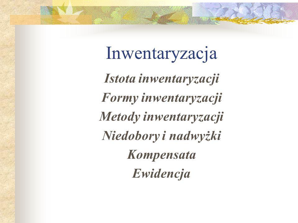 Inwentaryzacja Istota inwentaryzacji Formy inwentaryzacji Metody inwentaryzacji Niedobory i nadwyżki Kompensata Ewidencja