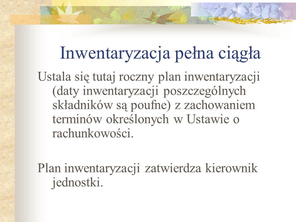 Inwentaryzacja pełna ciągła Ustala się tutaj roczny plan inwentaryzacji (daty inwentaryzacji poszczególnych składników są poufne) z zachowaniem termin