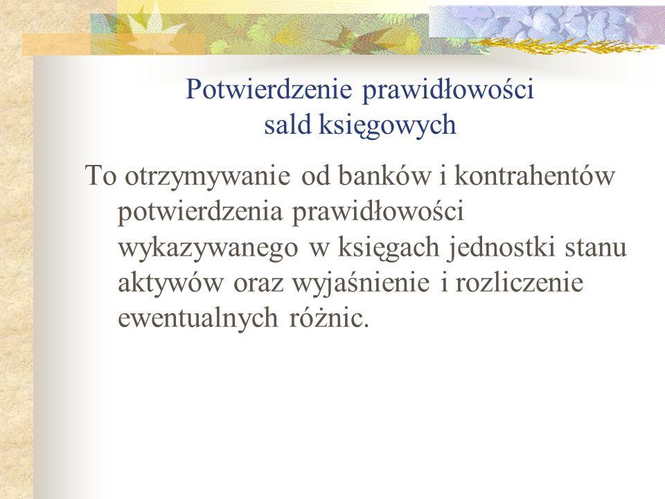 Potwierdzenie prawidłowości sald księgowych To otrzymywanie od banków i kontrahentów potwierdzenia prawidłowości wykazywanego w księgach jednostki sta