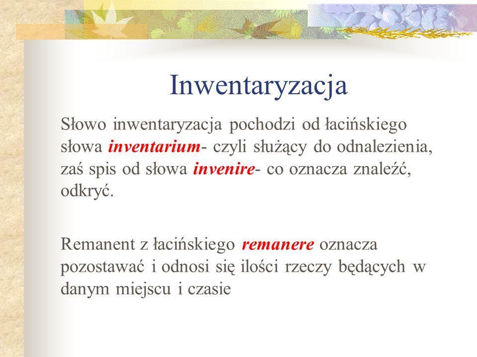 Inwentaryzacja Słowo inwentaryzacja pochodzi od łacińskiego słowa inventarium- czyli służący do odnalezienia, zaś spis od słowa invenire- co oznacza z