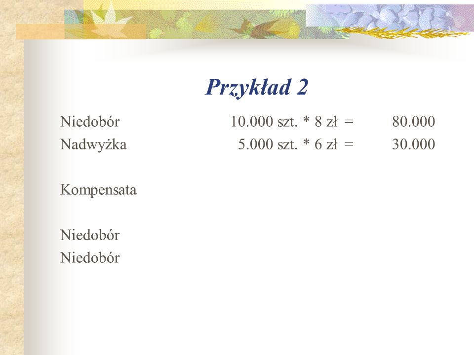 Przykład 2 Niedobór 10.000 szt. * 8 zł=80.000 Nadwyżka 5.000 szt. * 6 zł=30.000 Kompensata Niedobór