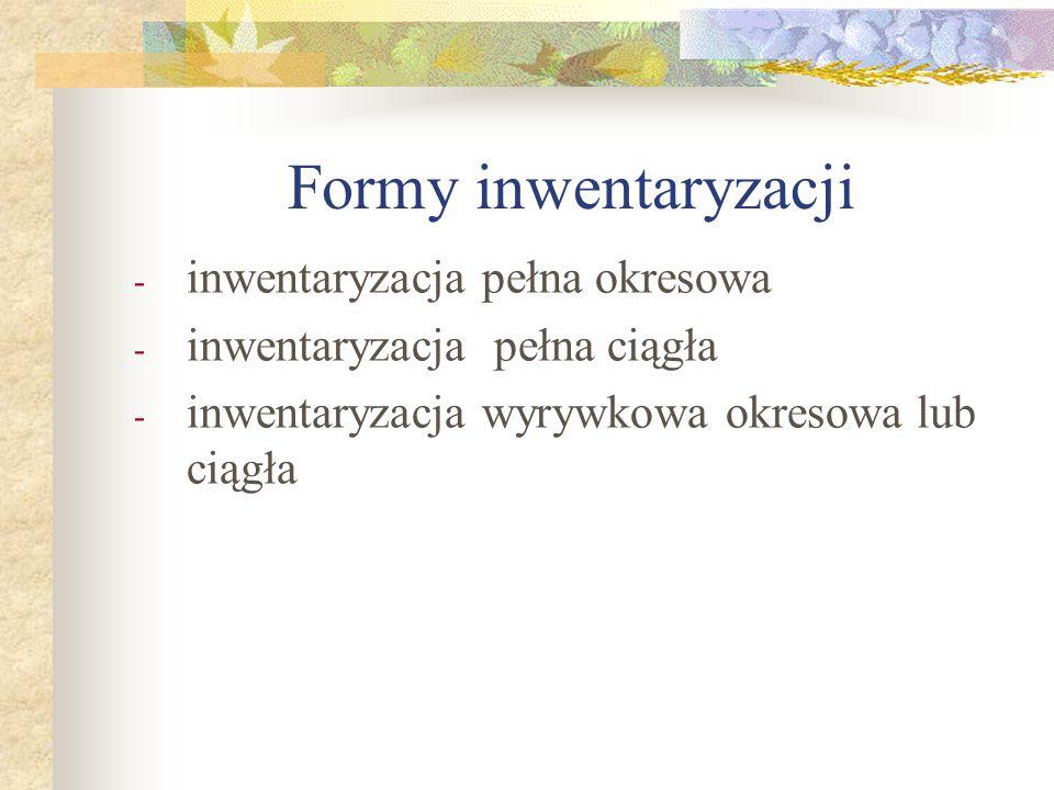 Formy inwentaryzacji - inwentaryzacja pełna okresowa - inwentaryzacja pełna ciągła - inwentaryzacja wyrywkowa okresowa lub ciągła