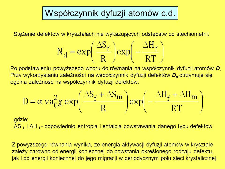 Stężenie defektów w kryształach nie wykazujących odstępstw od stechiometrii: Po podstawieniu powyższego wzoru do równania na współczynnik dyfuzji atomów D, Przy wykorzystaniu zależności na współczynnik dyfuzji defektów D d otrzymuje się ogólną zależność na współczynnik dyfuzji defektów: Z powyższego równania wynika, że energia aktywacji dyfuzji atomów w krysztale zależy zarówno od energii koniecznej do powstania określonego rodzaju defektu, jak i od energii koniecznej do jego migracji w periodycznym polu sieci krystalicznej.