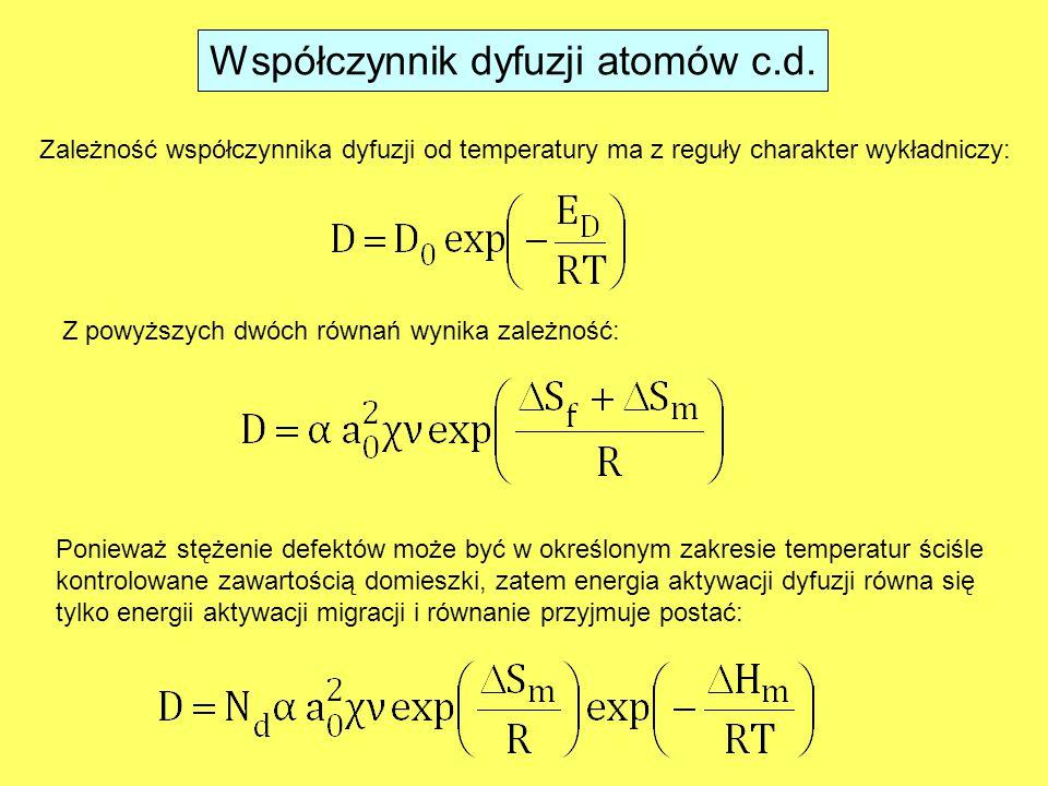 Zależność współczynnika dyfuzji od temperatury ma z reguły charakter wykładniczy: Z powyższych dwóch równań wynika zależność: Ponieważ stężenie defektów może być w określonym zakresie temperatur ściśle kontrolowane zawartością domieszki, zatem energia aktywacji dyfuzji równa się tylko energii aktywacji migracji i równanie przyjmuje postać: Współczynnik dyfuzji atomów c.d.