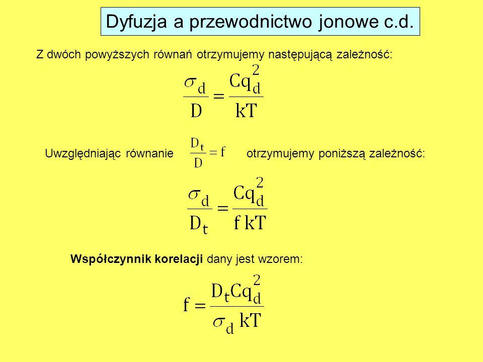 Współczynnik korelacji dany jest wzorem: Uwzględniając równanieotrzymujemy poniższą zależność: Z dwóch powyższych równań otrzymujemy następującą zależność: Dyfuzja a przewodnictwo jonowe c.d.