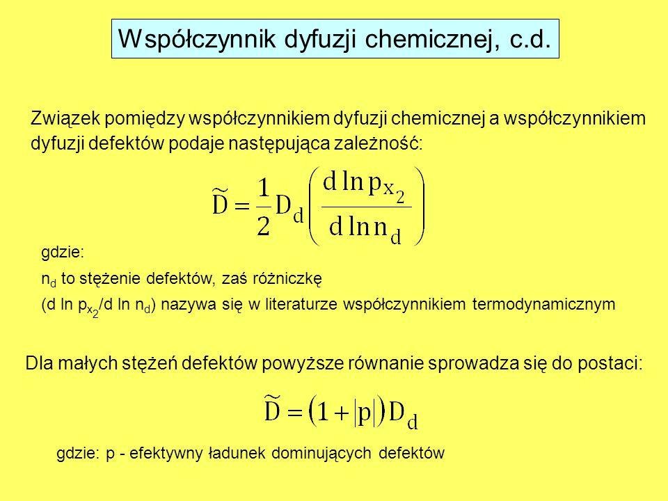 Związek pomiędzy współczynnikiem dyfuzji chemicznej a współczynnikiem dyfuzji defektów podaje następująca zależność: gdzie: n d to stężenie defektów, zaś różniczkę (d ln p x 2 /d ln n d ) nazywa się w literaturze współczynnikiem termodynamicznym Dla małych stężeń defektów powyższe równanie sprowadza się do postaci: gdzie: p - efektywny ładunek dominujących defektów Współczynnik dyfuzji chemicznej, c.d.