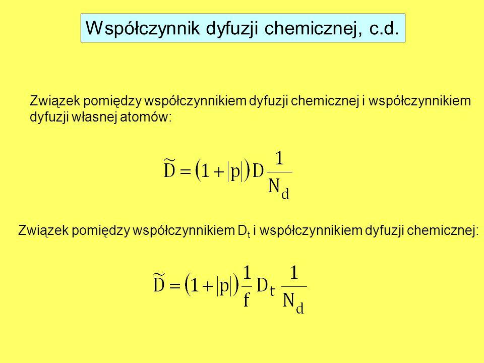 Związek pomiędzy współczynnikiem dyfuzji chemicznej i współczynnikiem dyfuzji własnej atomów: Związek pomiędzy współczynnikiem D t i współczynnikiem dyfuzji chemicznej: Współczynnik dyfuzji chemicznej, c.d.