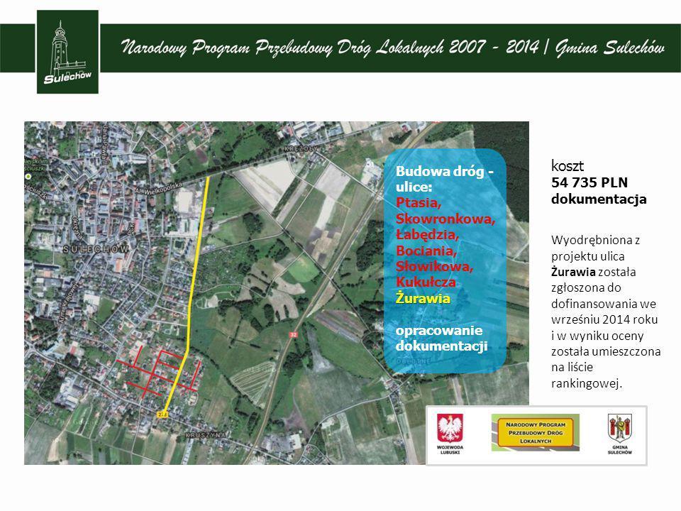 koszt 54 735 PLN dokumentacja Wyodrębniona z projektu ulica Żurawia została zgłoszona do dofinansowania we wrześniu 2014 roku i w wyniku oceny została