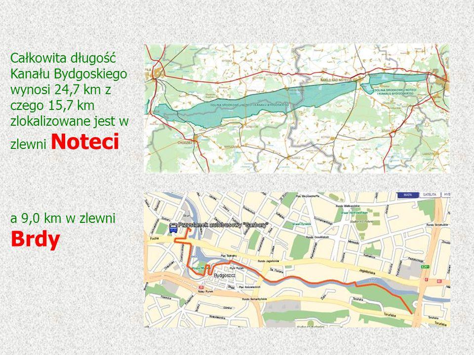 a 9,0 km w zlewni Brdy Całkowita długość Kanału Bydgoskiego wynosi 24,7 km z czego 15,7 km zlokalizowane jest w zlewni Noteci
