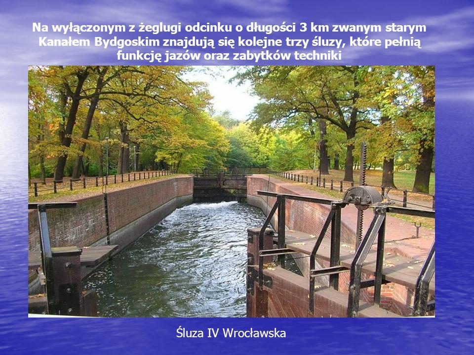 Na wyłączonym z żeglugi odcinku o długości 3 km zwanym starym Kanałem Bydgoskim znajdują się kolejne trzy śluzy, które pełnią funkcję jazów oraz zabyt