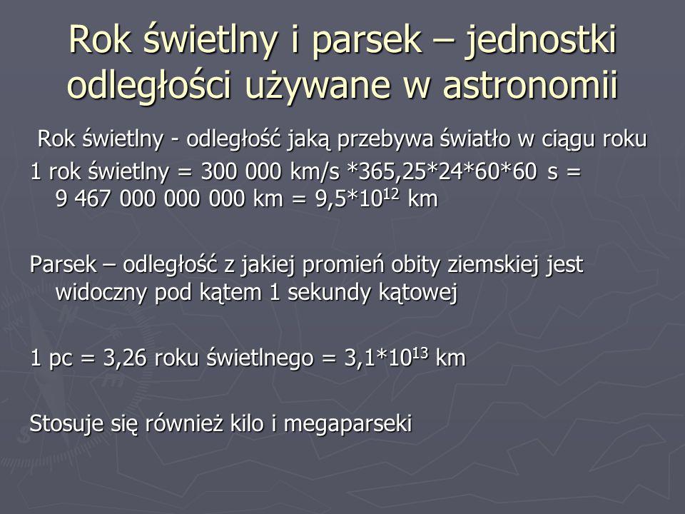 Rok świetlny i parsek – jednostki odległości używane w astronomii Rok świetlny - odległość jaką przebywa światło w ciągu roku 1 rok świetlny = 300 000