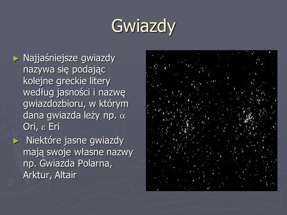 Gwiazdy ► Najjaśniejsza widoczna gwiazda nieba to Syriusz (znajduje się w odległości 9 lat świetlnych od Słońca) ► Najbliższa gwiazda Proxima Centauri znajduje się w odległości 4,22 l.ś.