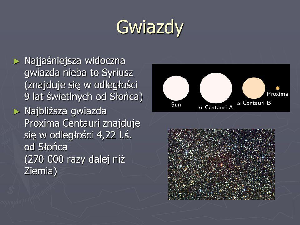 Gwiazdy ► Najjaśniejsza widoczna gwiazda nieba to Syriusz (znajduje się w odległości 9 lat świetlnych od Słońca) ► Najbliższa gwiazda Proxima Centauri