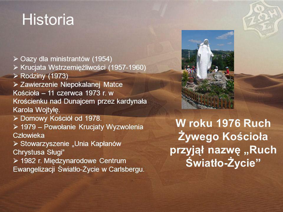 Historia  Oazy dla ministrantów (1954)  Krucjata Wstrzemięźliwości (1957-1960)  Rodziny (1973)  Zawierzenie Niepokalanej Matce Kościoła – 11 czerwca 1973 r.