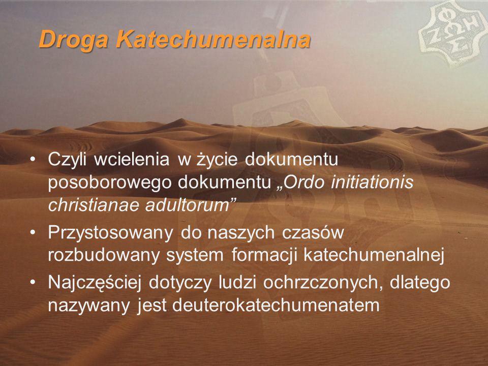 """Droga Katechumenalna Czyli wcielenia w życie dokumentu posoborowego dokumentu """"Ordo initiationis christianae adultorum Przystosowany do naszych czasów rozbudowany system formacji katechumenalnej Najczęściej dotyczy ludzi ochrzczonych, dlatego nazywany jest deuterokatechumenatem"""