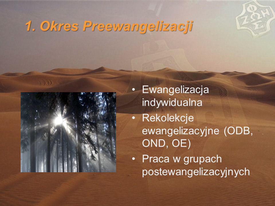 1. Okres Preewangelizacji Ewangelizacja indywidualna Rekolekcje ewangelizacyjne (ODB, OND, OE) Praca w grupach postewangelizacyjnych