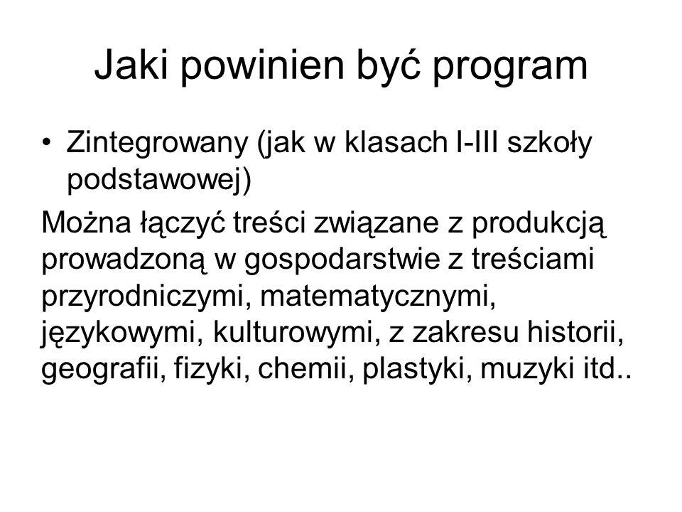Jaki powinien być program Zintegrowany (jak w klasach I-III szkoły podstawowej) Można łączyć treści związane z produkcją prowadzoną w gospodarstwie z