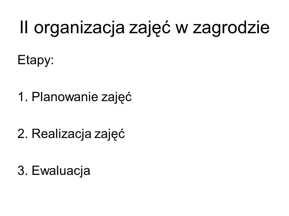 II organizacja zajęć w zagrodzie Etapy: 1. Planowanie zajęć 2. Realizacja zajęć 3. Ewaluacja