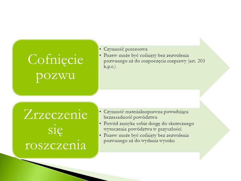 Czynność procesowa Pozew może być cofnięty bez zezwolenia pozwanego aż do rozpoczęcia rozprawy (art. 203 k.p.c.) Cofnięcie pozwu Czynność materialnopr