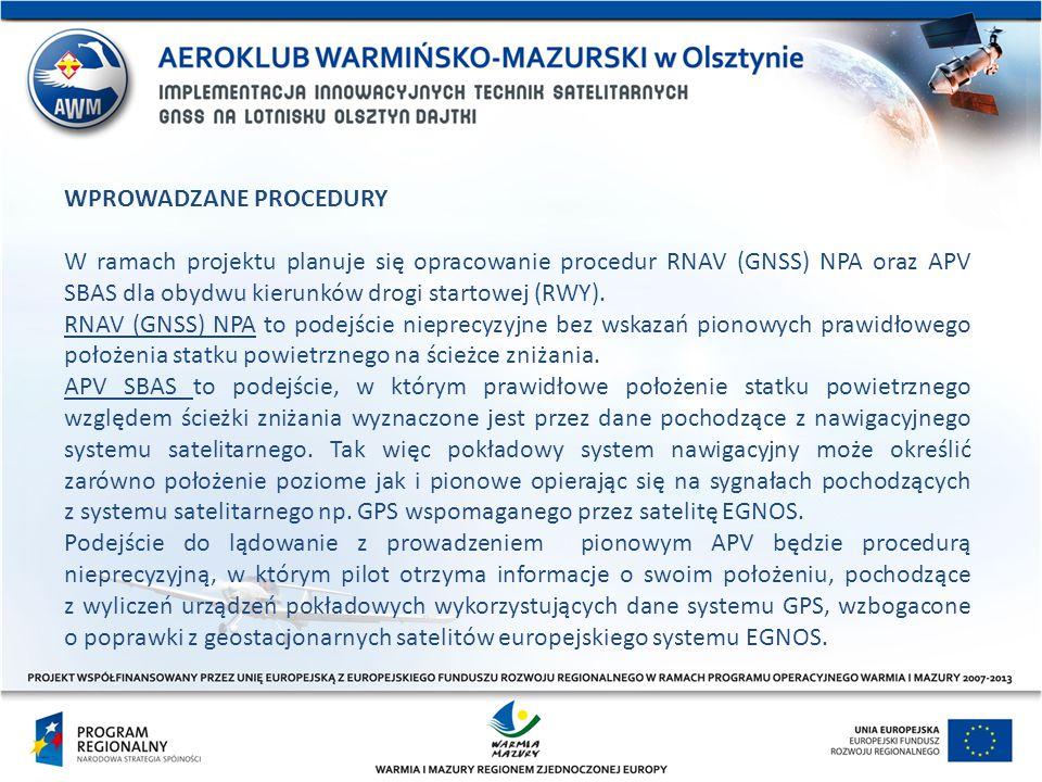 WPROWADZANE PROCEDURY W ramach projektu planuje się opracowanie procedur RNAV (GNSS) NPA oraz APV SBAS dla obydwu kierunków drogi startowej (RWY). RNA
