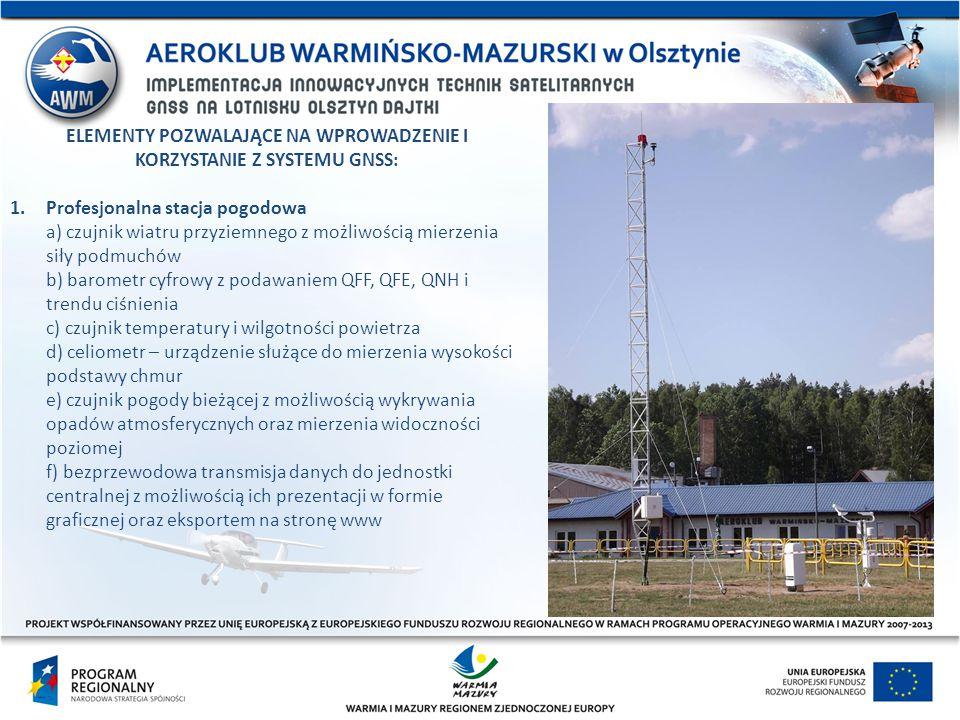 ELEMENTY POZWALAJĄCE NA WPROWADZENIE I KORZYSTANIE Z SYSTEMU GNSS: 1.Profesjonalna stacja pogodowa a) czujnik wiatru przyziemnego z możliwością mierze