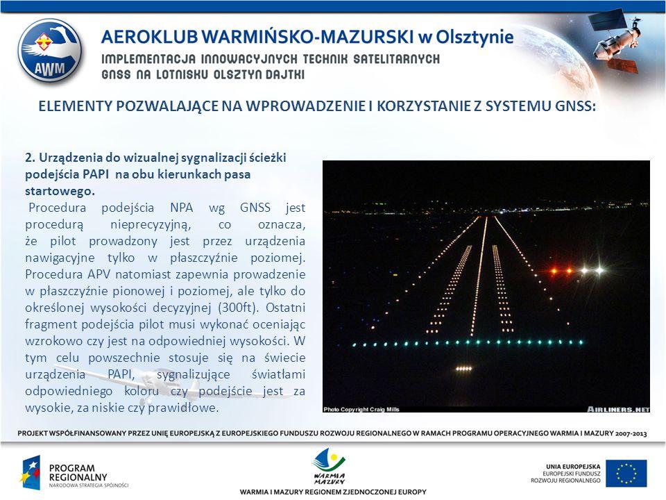 2. Urządzenia do wizualnej sygnalizacji ścieżki podejścia PAPI na obu kierunkach pasa startowego. Procedura podejścia NPA wg GNSS jest procedurą niepr