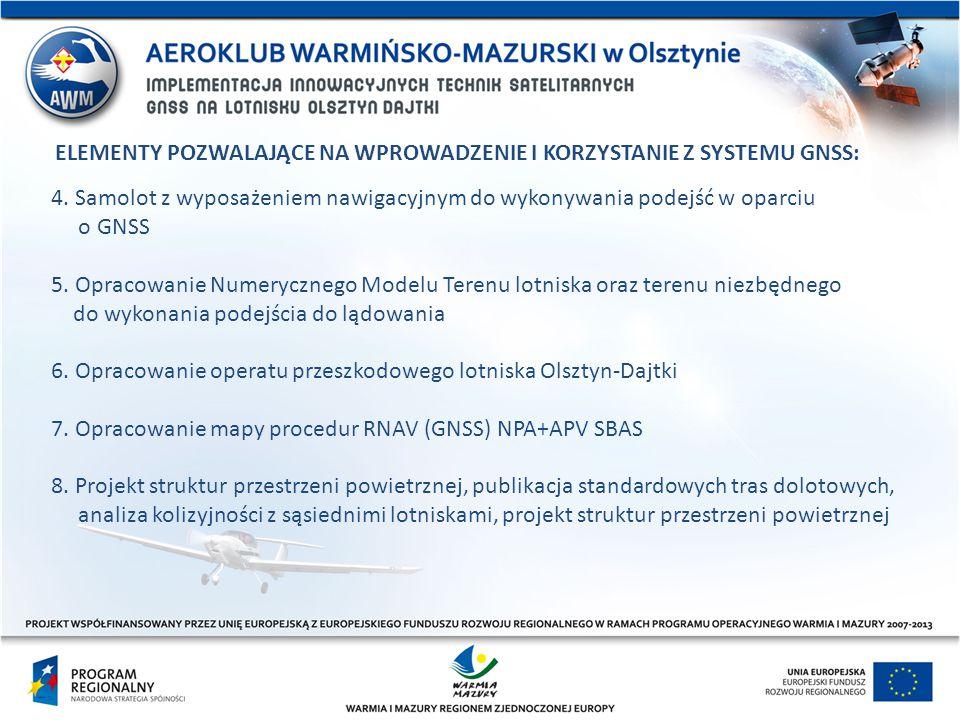 4. Samolot z wyposażeniem nawigacyjnym do wykonywania podejść w oparciu o GNSS 5. Opracowanie Numerycznego Modelu Terenu lotniska oraz terenu niezbędn