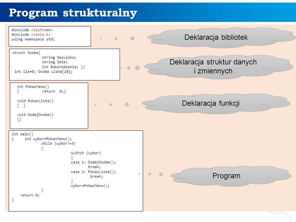 Program strukturalny 3 #include using namespace std; struct Osoba{ string Nazwisko; string Imie; int RokUrodzenia; }; int ile=0; Osoba Lista[20]; int PokazMenu() {return 0;} void PokazListe() { } void DodajOsobe() {} int main() { int wybor=PokazMenu(); while (wybor!=3) { switch (wybor) { case 1: DodajOsobe(); break; case 2: PokazListe(); break; } wybor=PokazMenu(); } return 0; } Deklaracja bibliotek Deklaracja struktur danych i zmiennych Deklaracja funkcji Program
