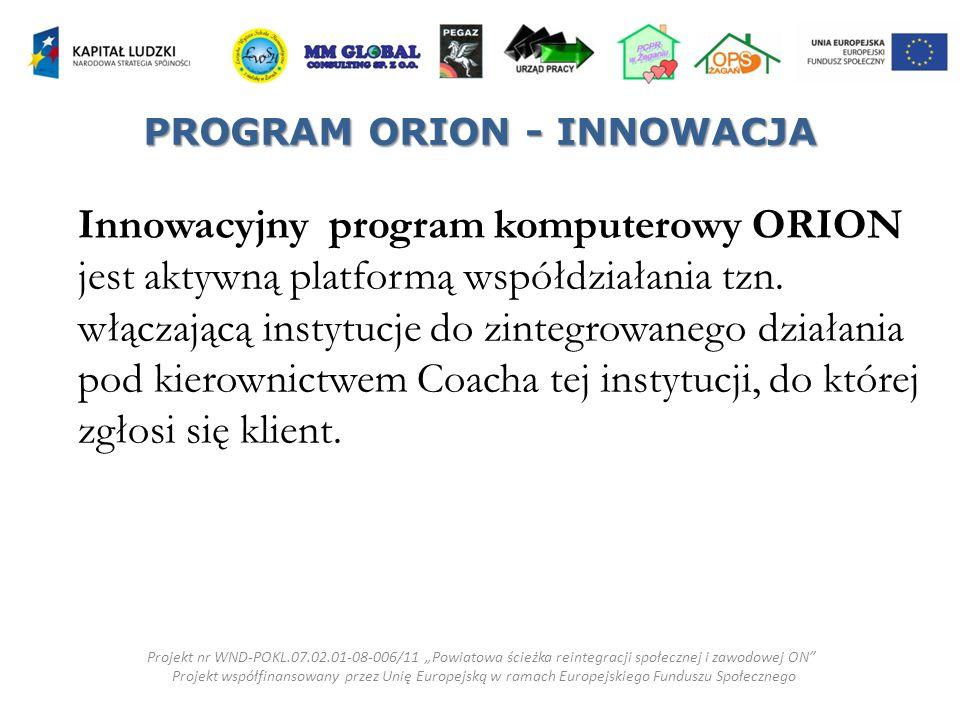 Innowacyjny program komputerowy ORION jest aktywną platformą współdziałania tzn.