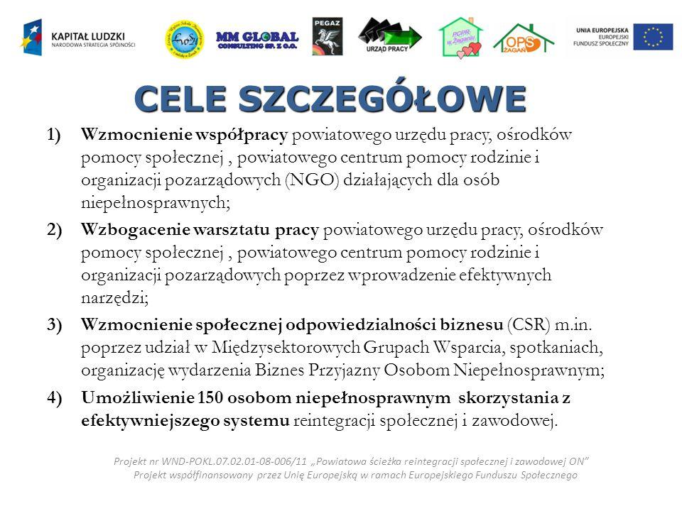 """TAK JEST Projekt nr WND-POKL.07.02.01-08-006/11 """"Powiatowa ścieżka reintegracji społecznej i zawodowej ON Projekt współfinansowany przez Unię Europejską w ramach Europejskiego Funduszu Społecznego"""