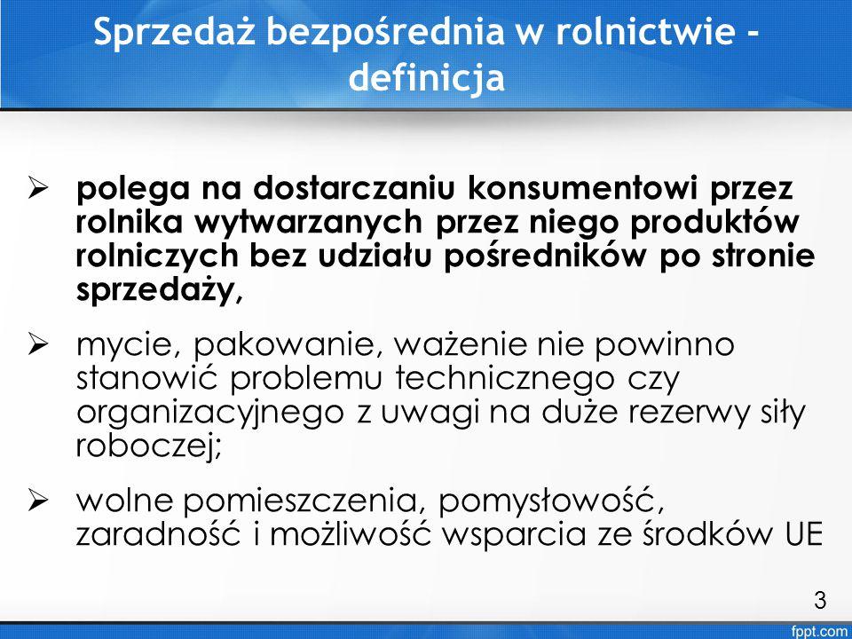 W Polsce sprzedaż własnych produktów jest możliwa dwutorowo: 1) w ramach sprzedaży bezpośredniej – nie wymaga rejestracji jako działalność gospodarcza (produkty nieprzetworzone roślinne i zwierzęce, w tym mleko i śmietana); 2) w ramach działalności marginalnej, ograniczonej i lokalnej tzw.