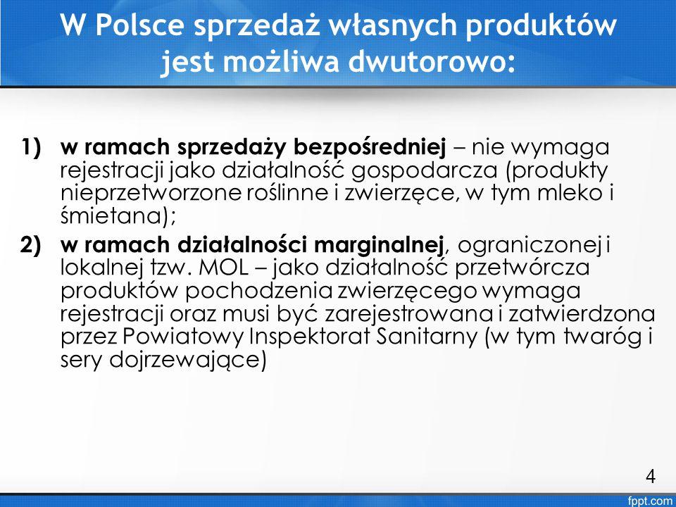 Warunki rozpoczęcia sprzedaży produktów żywnościowych: 1)spełnienie określonych wymogów higieniczno- sanitarnych; 2)uzyskanie zgody powiatowego lekarza weterynarii (w przypadku produktów pochodzenia zwierzęcego); 3)uzyskanie zgody państwowego powiatowego inspektora sanitarnego (w przypadku produktów pochodzenia niezwierzęcego i mieszanych) Nie ma potrzeby rejestrowania działalności gospodarczej przy wytwarzaniu i sprzedaży bezpośredniej produktów nieprzetworzonych, pochodzących z własnego gospodarstwa.