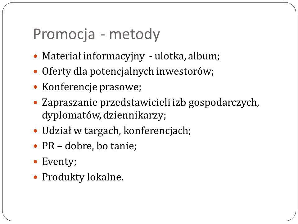 Promocja - metody Materiał informacyjny - ulotka, album; Oferty dla potencjalnych inwestorów; Konferencje prasowe; Zapraszanie przedstawicieli izb gos