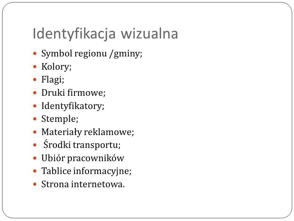 Identyfikacja wizualna Symbol regionu /gminy; Kolory; Flagi; Druki firmowe; Identyfikatory; Stemple; Materiały reklamowe; Środki transportu; Ubiór pra