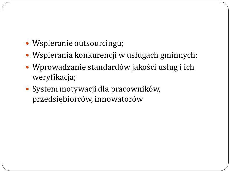 Wspieranie outsourcingu; Wspierania konkurencji w usługach gminnych: Wprowadzanie standardów jakości usług i ich weryfikacja; System motywacji dla pra