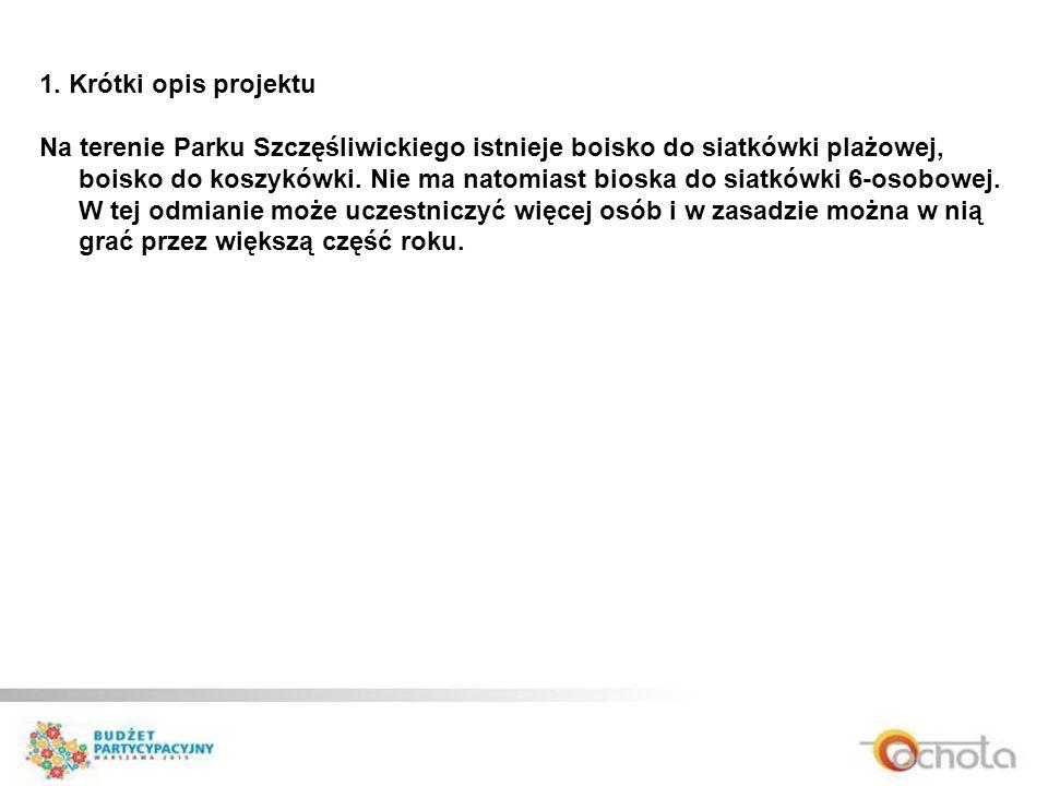 1. Krótki opis projektu Na terenie Parku Szczęśliwickiego istnieje boisko do siatkówki plażowej, boisko do koszykówki. Nie ma natomiast bioska do siat