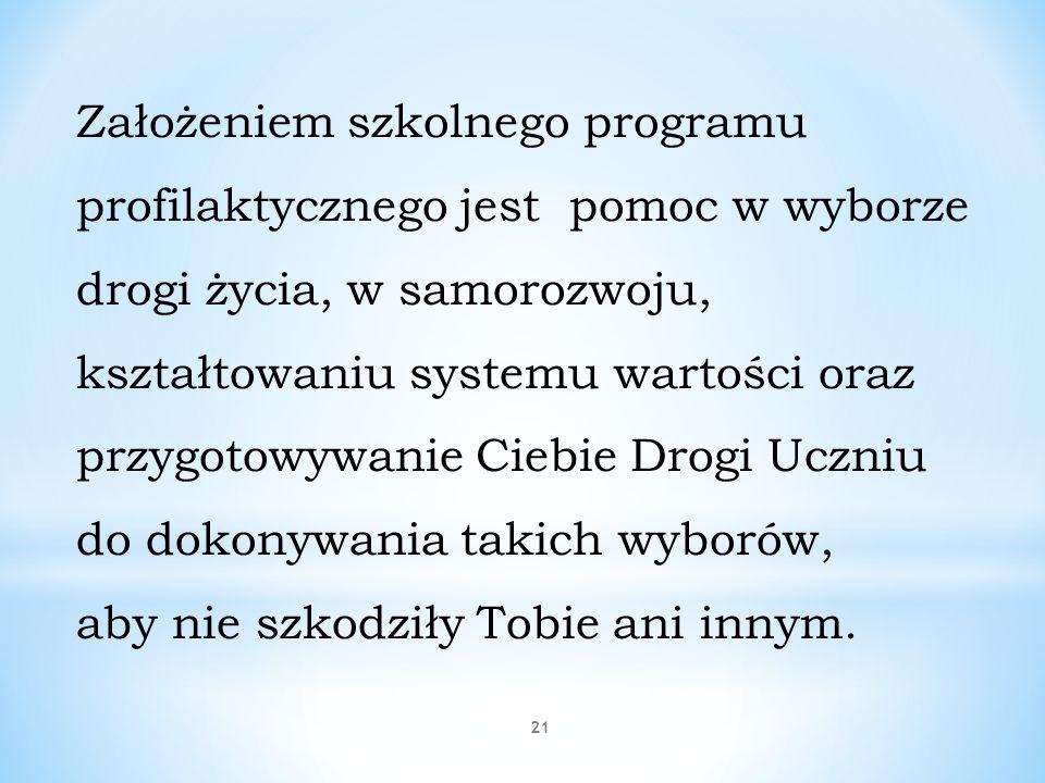 21 Założeniem szkolnego programu profilaktycznego jest pomoc w wyborze drogi życia, w samorozwoju, kształtowaniu systemu wartości oraz przygotowywanie