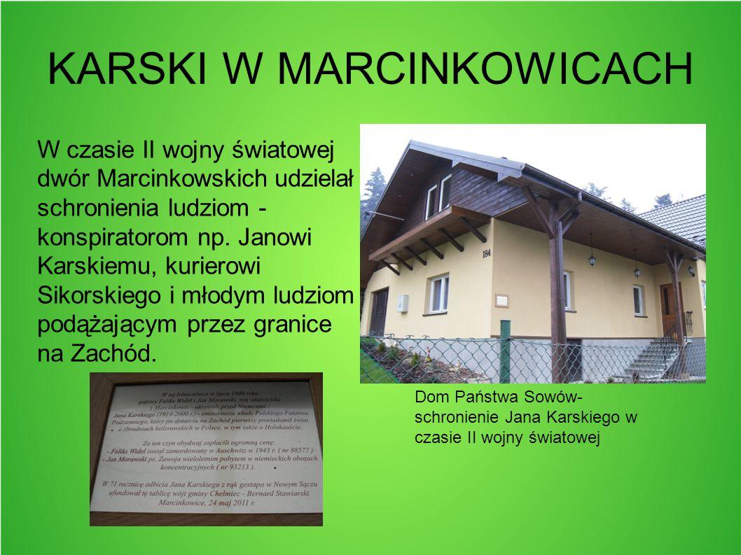 KARSKI W MARCINKOWICACH W czasie II wojny światowej dwór Marcinkowskich udzielał schronienia ludziom - konspiratorom np. Janowi Karskiemu, kurierowi S