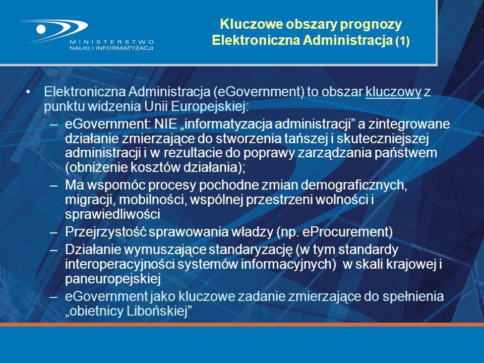 Kluczowe obszary prognozy Elektroniczna Administracja (1) Elektroniczna Administracja (eGovernment) to obszar kluczowy z punktu widzenia Unii Europejs