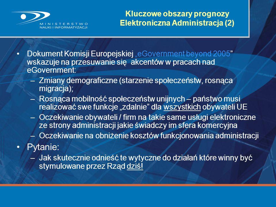 """Kluczowe obszary prognozy Elektroniczna Administracja (2) Dokument Komisji Europejskiej """"eGovernment beyond 2005"""" wskazuje na przesuwanie się akcentów"""