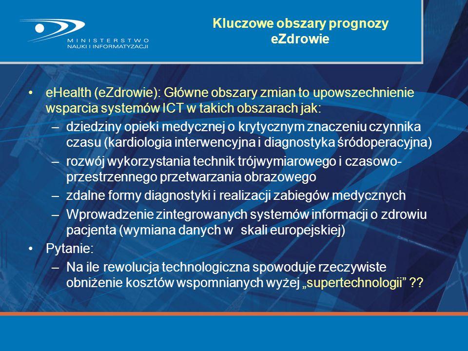 Kluczowe obszary prognozy eZdrowie eHealth (eZdrowie): Główne obszary zmian to upowszechnienie wsparcia systemów ICT w takich obszarach jak: –dziedzin